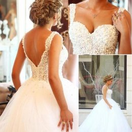 China brides gowns online shopping - Romantic Crystals Pearls Sweetheart Backless Ball Gown Wedding Dresses China Court Train White Tulle Bride Bridal Gowns