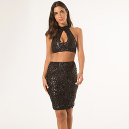 Mini Jupe Sequin Pas Cher-Femme Sequin Two Piece Birthday Outfits 2017 Vintage Gaine Floral Front Cut Out Bodycon Ensemble culottes et jupe Party Club Nightclubs Dress