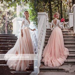 Vintage 2017 Long Sleeves Lace Wedding Dresses V Neck Sexy Backless Beautiful Pink Gowns Appliques Ruffles Country