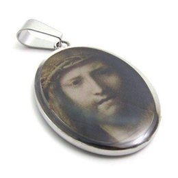 "Discount catholic saints pendants - 316L Stainless Steel Religious Jesus Mary Saint Jude Catholic Picture Charm Pendant Chain Necklace W 20"" Beads Chai"