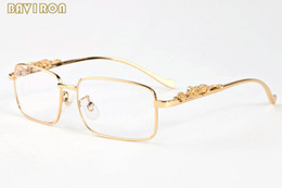 Wholesale with box fashion sunglasses gold silver alloy metal leopard frame men women buffalo horn glasses clear lens sun glasses