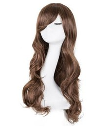 Hair Extensions & Wigs Synthetic None-lacewigs Curly Wigs Fei-show Synthetic Heat Resistant Fiber Long Light Brown Hair Salon Inclined Bangs Hairpiece Costume Cos-play Hairset