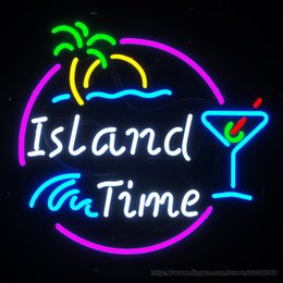 "Hot Bar Australia - Hot Island Time Drink Neon Sign Commercial Custom Sign Store Club PUB Display Beer Bar Sign Real Glass Tube Neon Holiday 22""X22"""