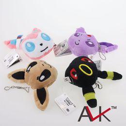 Pokemon Wholesale Figure Canada - Poke plush toys POKE Pendant keychain Stuffed Animals 7cm Children best gift