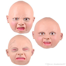 adult baby halloween costumes 2021 - Latex Disgusted Happy Cry Baby Costume Mask Halloween Full Head Party Masks for Carnival Christmas Joke Free Shipping