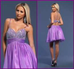 Barato Curto Vestidos De Baile-Sexy Spaghetti Straps Lavender Homecoming Vestidos 2017 Short Prom Dresses Cut Out Back Cocktail Party Vestidos Graduação Vestido