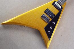 China Custom Shop Jack son Ltd Randy Rhoads RR Flying V Goldtop Electric Guitar Big Sparkle Gold Paint,Black Pickguard Drop Shipping suppliers