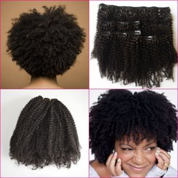 African American Hair Wholesale Australia - African American Clip In Hair Extensions 4a,4b,4c Afro Kinky Curly Malaysian Human Hair Clip on extensions G-EASY
