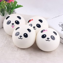 Discount panda cell phone charm - Wholesale-10 cm Jumbo Panda Bun Squishy Cell Phone Charms Kawaii Panda Buns Key Bag Strap Squishes