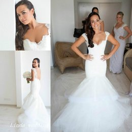 $enCountryForm.capitalKeyWord Canada - Steven Khalil White Fluffy Tulle Wedding Dresses New Arrival Mermaid Lace Cap Sleeve Formal Long Bridal Party Gowns