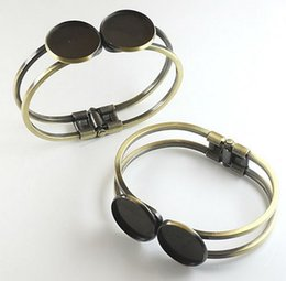 $enCountryForm.capitalKeyWord Australia - Min Order 20pcs Wholesale ANTIQUE BRONZE Double 20mm Cameo Setting Disc Cuff Bangle and Bracelets Blank DIY Jewelry Findings