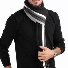 Discount striped winter scarves - Wholesale- Winter design striped scarf men shawls scarves,2016 foulard fall fashion designer wrap men business scarf ech