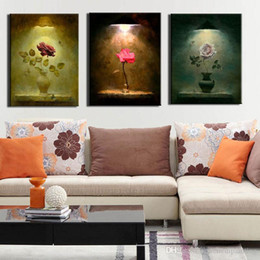 Traditional Wall Decor Canada - 3 Picture Combination Chinese Traditional Wall Flower Art Paintings Vase with Flower Traditional Art Paintings Decor for Home Wall