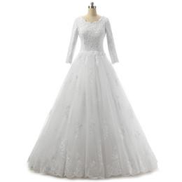 Abito da sposa in tulle con collo in pizzo e maniche a 3/4 maniche 2019 Abiti da sposa con applicazioni di pizzo
