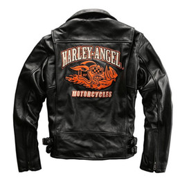 full motorcycle suit UK - HARLEY-ANGEL motorcycles Coats Men's Slim outwearThick cowhide genuine leather zipper lapels Motor suit coat USA UK