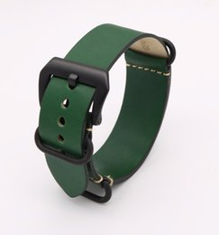 Discount watch band for panerai - 24mm Newest Man Lady Green VINTAGE Watch Band Strap Belt Real Smooth Leather Silver Brushed Screw Buckle Luxury Nato Zul