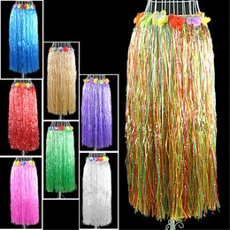 Jupes Adultes Hula Pas Cher-80 cm Long Hawaiian Patry Décorations Enfants Adulte Hula Montrer Herbe Jupe Couronne Soutien-Gorge Garland Set Plage Danse Dress