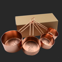 Wholesale High Quality Copper Stainless Steel Measuring Cups 4 Pieces Set Kitchen Tools Making Cakes and Baking Gauges Measuring Tools HH7-177