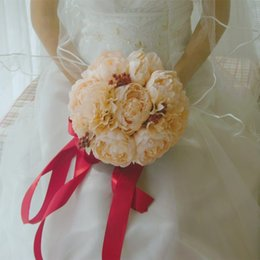 Tea Colored Canada - New Romantic Red Ribbon Wedding Bouquet Decorative Artificial Creamed-colored Peony Wedding Flower Bridal Silk Bouquets Wedding Accessories