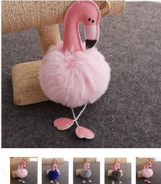 Artificial Chains Wholesalers Australia - Cartoon Flamingo Keychain Fluffy Artificial Rabbit Fur Ball Key Chain Car Bag Key Ring Pendant mix Colors