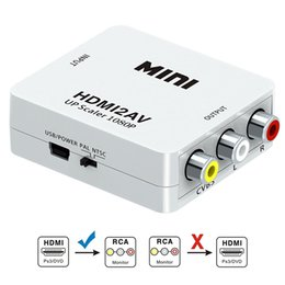 Wholesale HDMI to RCA HDMI to AV P HDMI to AV RCA CVBs Composite Video Audio Converter Adapter Support PAL NTSC with USB Charge Cable
