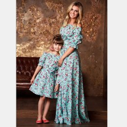 Barato Vestido Vintage 8t-Mãe Filha Vestidos Vintage Moda Floral Ankle-Length Dress Imprimir Half Sleeve Família Matching Outfits Mommy And Me Robe