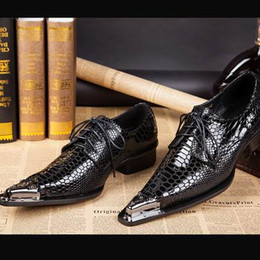 flat stage shoes Canada - Fashion Mens Black Dress Shoes Metal Toe Crocodile Pattern Genuine Leather Leisure Shoes Playing Stage Shoes For Man