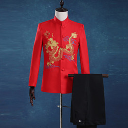 Mens Chinese Tunic Suits Canada - Free Shipping Plus size Red Long Sleeves Slim Gold Embroidered Dragon mens Suit halloween Party Chinese tunic