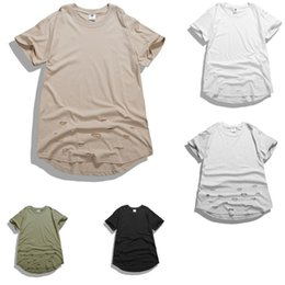 $enCountryForm.capitalKeyWord Canada - Cheap Wholesale Men Distressed Extended T Shirts Hip Hop Swag Kanye West Justin T-Shirts Solid Casual Tee