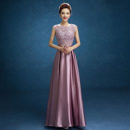 Wholesale Long Satin Lace Evening dress Mother of the Bride Dresses Crystal Sashes vestido de festa Formal Party Gowns