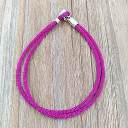 08054bb43 Authentic 925 Silver Fabric Cord Bracelet, Purple Fits European Pandora  Style Jewelry Charms Beads 590749CPE-S
