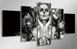 $enCountryForm.capitalKeyWord Australia - 5 Pcs HD Printed Day of the Dead Face Painting on canvas room decoration print poster picture canvas wall picture sets fram