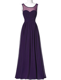 gold zipper long UK - Sexy Sleeveless V Back Long Chiffon Purple Bridesmaid Dresses 2019 Free Shipping Cheap Wedding Party Gown