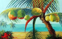 oil painting beach framed NZ - Framed Coconut Palm Tree Hawaii Sand Beach Ocean,Free Shipping,Pure Hand-painted Seascape Art oil painting On Canvas Multi sizes