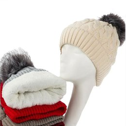 China New Add Lining Knitted Winter Hats Women Warm Fur Pompom Cap Skullies & Beanies For Women High Quality Girls Hats cheap acrylic line suppliers