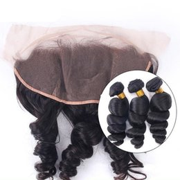 Lace Frontal Closure Weaving Hair Canada - 13X4 Lace Frontal Closure With 3 Bundles 8A Malaysian Loose Wave Human Hair Weave With Frontal Closure Peruvian Lace Frontal With Bundles
