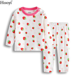01fc50408f Hooyi Strawberry Baby Sleepwear For Girls Pajamas Cotton Spring Newborn  Sleep Sets Children Long Sleeve Tee Shirts Pants Soft Hot Sale
