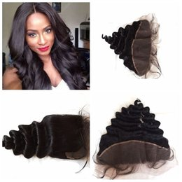Way part lace frontal online shopping - Free middle way parting malaysian human hair loose wave lace frontal closure bleached knots x4 lace frontal with bady hair G EASY
