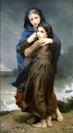 Oils Art Canada - The Storm by William Bouguereau,Free Shipping Hand-painted Portrait Art oil painting on canvas For Wall decor in any size customized