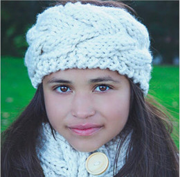 Bande De Bébé À Crochet En Tricot Pas Cher-Newborn Kids Girls Knit Crochet Headbands 2017 Toddler Woolen Hairbands Babies Winter Warm Headwear Accessoires pour cheveux pour enfants