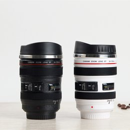 Camera Drink Canada - Creative Caniam Camera lens Coffee Cup mug 400ml Stainless Steel travel mug Camera Eos 24-105mm Model Drinking Cup with Lid white black