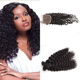 "$enCountryForm.capitalKeyWord NZ - Malaysian Deep Wave With Closure 4X4 Free Part 8""-30"" Deep Curly Virgin Hair Weave With Lace Closure Bleach Knots G-EASY"