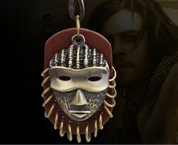 leather mask wholesale Canada - Vintga Leather And Metal Pendant Necklaces Mysterious Mask Fashion Jewelry Pendant For Men And Women YC2039-1 Free Shipping
