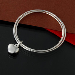 $enCountryForm.capitalKeyWord NZ - Factory direct wholesale 925 Sterling Silver three ring hanging small Bu heart bracelet bangles fashion jewelry silver bracelet