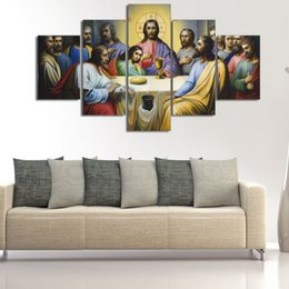 "5panels Oil Painting UK - LARGE 60""x32"" 5Panels Art Canvas Print Jesus The Last Supper Wall Home Decor interior (No Frame)"