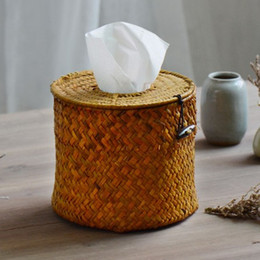 paper table roll Australia - Wholesale- NEW!Rural Style Round Nature Straw Dining Table Napkin Holder Tissue Box Environment_friendly Paper Box Storage Case Hot!