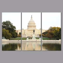 Life Houses Canada - 3pcs Landscape Decoration The White House Canvas Painting on wall hanging home decor scenery building river wedding decoration