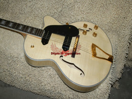 China Wholesale guitars Top quality custom P90 pickup JAZZ Semi Hollow natural wooden Electric Guitar Free shipping suppliers