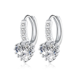 $enCountryForm.capitalKeyWord UK - 2016 New Fashion Silver Plated Heart Cubic Zirconia CZ Crystal Lever Back Earrings for Women Hypoallergenic Earrings