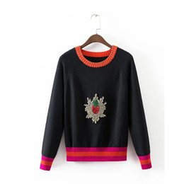 Chinese  Wholesale-2016 Strawberry Women casual sweater embroidered beaded diamond manufacturers